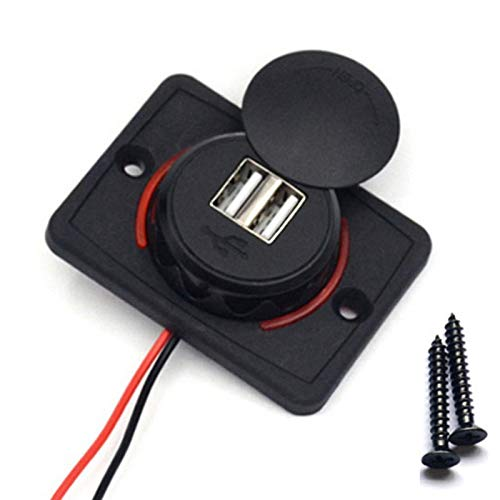 JOMOSIN Qiche25 Universal Cargador de automóviles Aprobatorio Impermeable DC 12-24V 3.1A para AUTOBUS DE Coches Camper Caravan Dual USB Nylon Cargador de Coche Automotor (Color : Red)