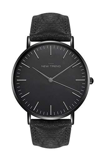 New Trend Unisex Amrbanduhr schlicht schwarz Damen-Uhr Herren-Uhr Analog-Uhr Quarz-Uhr mit Kunst-Leder-Armband