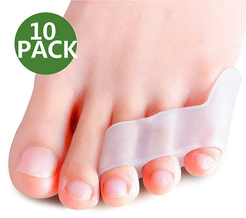 Povihome 10 Pack Pinky Toe Separator & Protectors, Triple Gel Toe Separators for Overlapping Toe, Curled Pinky Toes Separate and Protect