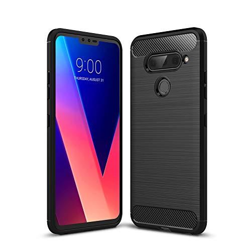 Cruzerlite LG V40 ThinQ hülle, LG V40 hülle, Carbon Fiber Shock Absorption Slim TPU Cover Schutzhülle für LG V40 ThinQ (Black)
