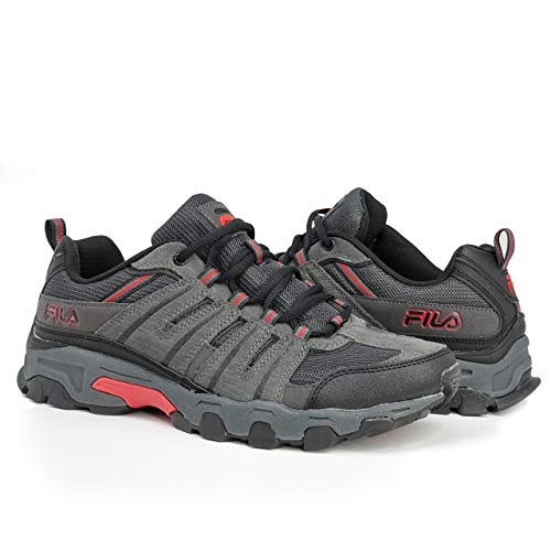 Fila Mens Westmount Hiking Outdoor Athletic Sneaker, Grey/Black/Red, 10.5