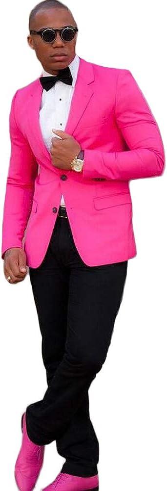 Men's Hot Pink Notch Lapel Two Button Tuxedo Jacket Slim Fit Prom Party Coat Wedding Coat Casual Suit Jacket