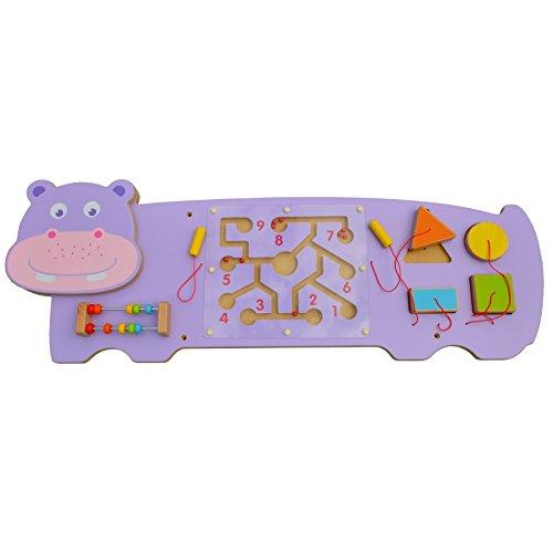 Wandspiel Wand-Spieltafel Motoriktrainer Motorikbrett Motorikschleife Spielbrett~ Wandspiel, unterschiedliche Spielelemente, Motorik, Kleinkinder, Koordination, inkl. Montagematerial (lila / Hippo)
