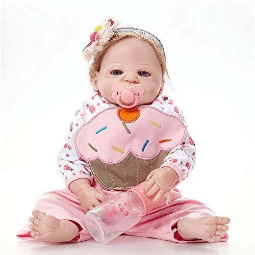 SONGXM Realistische Schlafende Wiedergeborene Babypuppe Silikon Junge 23 Zoll ca. 58cm Reborn Baby Doll Kleidung Outfit Kinder Spielzeug Anzug