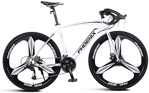 Great Deal! JSZMD Adult Road Bike, Men Racing Bicycle with Dual Disc Brake, High-Carbon Steel Frame Road Bicycle, City Utility Bike (Color : White, Size : 27 Speed 3 Spoke)