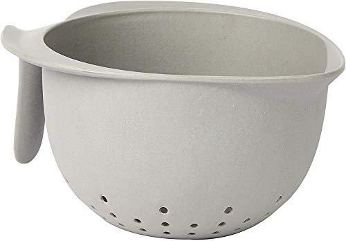 Une 'domo Pv-bam-6330 Point-Virgule Passoire avec poignée Gris ciment 22 x 18 x 10 cm, Bambou, fibre, gris