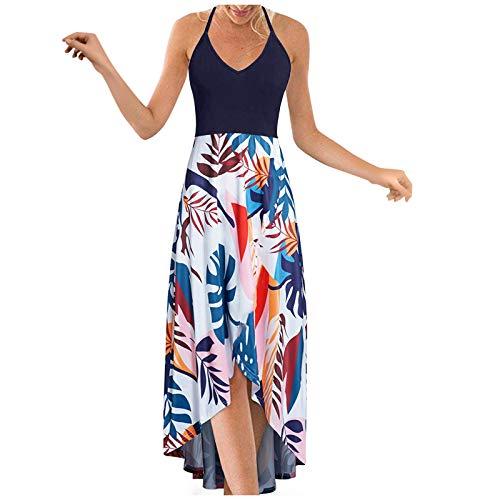 Lalaluka Vestido de verano para mujer, sin mangas, sexy, vintage, escote en V, estampado, vestido de playa, vestido de flores, vestido de cóctel, vestido bohemio, vestido de tiempo libre. marine XXL