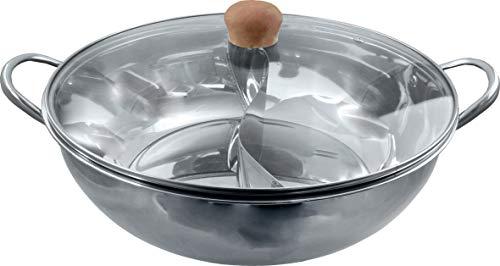 yoaxia ® - [ Ø 34cm Edelstahl HOT POT mit Glasdeckel ] Topf mit 2 Kammern / Feuertopf / Shabu Shabu