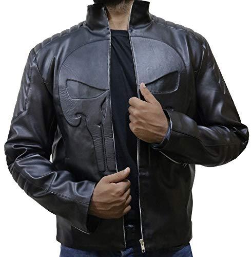 Skull Black Leather Jacket for Mens,S