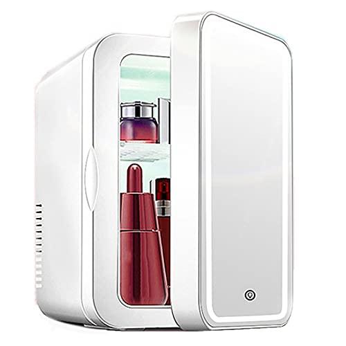 Mini Nevera De Maquillaje 8L AC/DC Mini Refrigerador + Luz LED Regulable De Maquillaje Espejo Energy Star Mini Nevera Ultra-Silencioso para Dormitorio RV Office