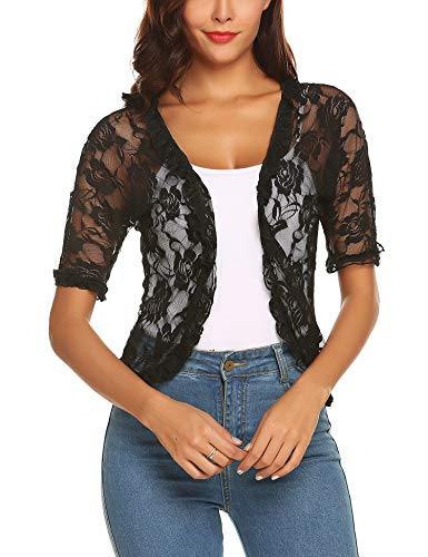 URRU Women's Casual Lace Crochet Cardigan Half Sleeve Sheer Cover Up Jacket Plus Size Black M