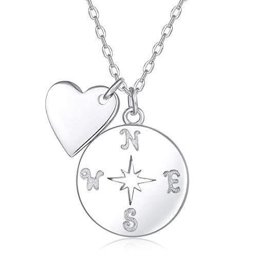 Damen Kompass Halskette mit Mini Herz Anhänger in 925 Sterling Silber (45 cm Länge)