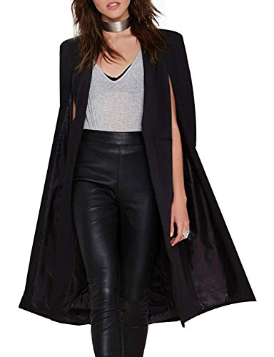 IRISIE Women Casual Open Front Cape Trench Duster Coat Longline Blazer(XXL,Black)