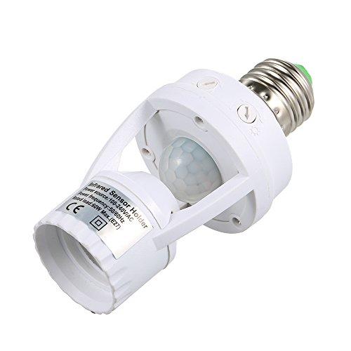 Docooler E27 LED Glühbirne Sockel mit PIR Bewegungsmelder und Infrarot Automatische Licht Lampe Halter Schalter.