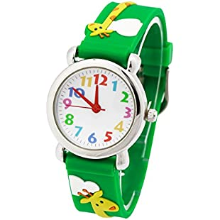 Eleoption Waterproof 3D Cute Cartoon Round Dial Digital Wristwatches Time Teacher Gifts Presents for Little Girls Boy Kids Children Environmental Friendly Silicone Rubber Watch (Giraffe, Green):Videomesum