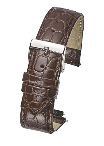 Genuine Leather Watch Band Strap in Shiny Croco Grain Finish - 16mm - Brown