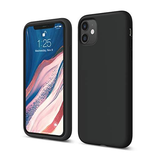 """elago Silicona Líquida Funda Compatible con iPhone 11 (6.1""""), Silicona Premium, Protección Funda Protectora 3 Tapas Estructura (Negro)"""