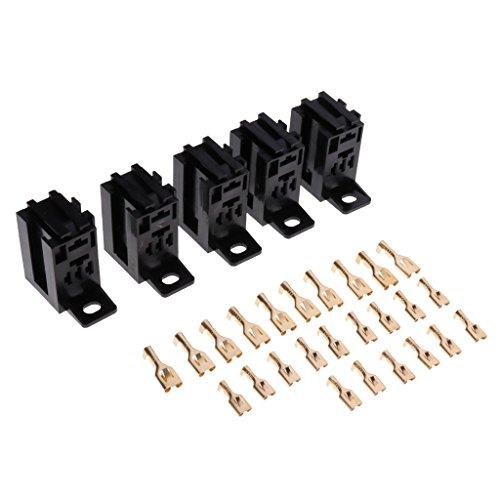 Yaseking 5x 60A conector del relé 5 Soporte Base Pin conector y 25 terminales
