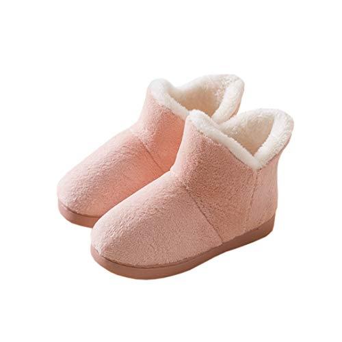 [HAPLUE] ルームシューズ 室内履き スリッパ スノーブーツ 暖かいブーツ プラスベルベット 厚いソール 保温する かかとを包む サンゴフリース 屋内と屋外 夫婦用 (22.5~23.0cm, ピンク)