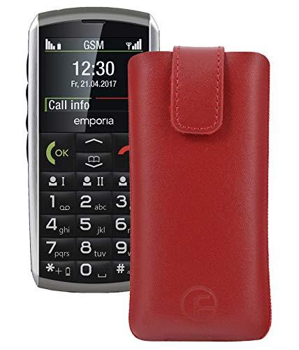 Original Favory Etui Tasche für emporia CLASSIC Leder Etui Handytasche Ledertasche Schutzhülle Hülle Hülle Lasche mit Rückzugfunktion* in rot