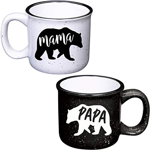 Mama Bear Mug & Papa Bear Mug - 13oz Ceramic Campfire Coffee Mug Set - Pregnancy Announcement New Parents Couples Gifts - Gift Ideas For Expecting Parents (White/Black)