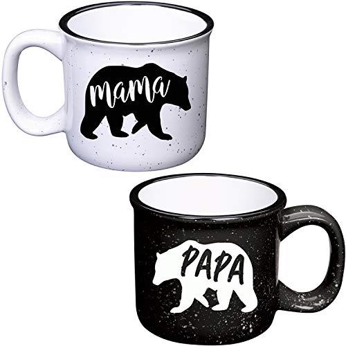 Mama Bear Mug & Papa Bear Mug - 13oz Sturdy Ceramic Campfire Coffee Mug Set - Pregnancy Announcement New Parents Couples Gifts - Mom And Dad Coffee Mugs - Best His And Hers Gifts Set