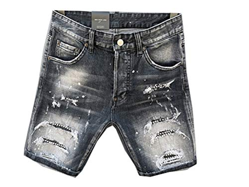 TY.OLK Summe Men Shorts Jeans Zipper Stripe Slim Blue Hole Denim Shorts