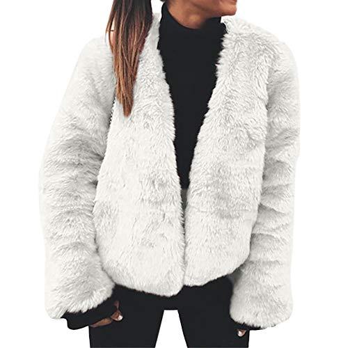 NEEKY Frauen Mantel Winter Warm Kunstpelz Strickjacke Langarm Oberbekleidung Oberteile Damen Warm Coat(EU:38/L, Weiß)