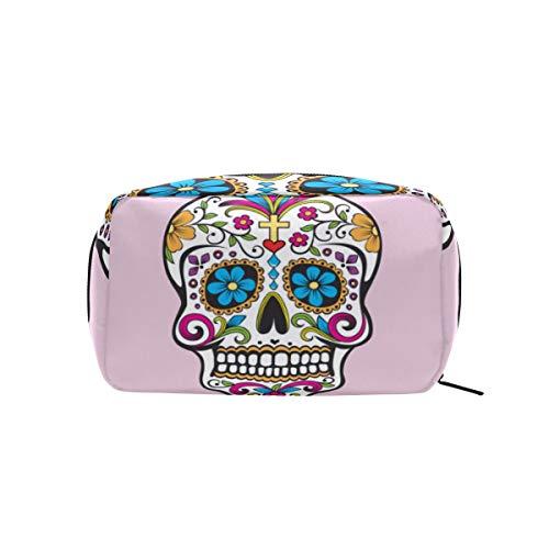 FAJRO - Bolsa de maquillaje con diseño de calavera mexicana