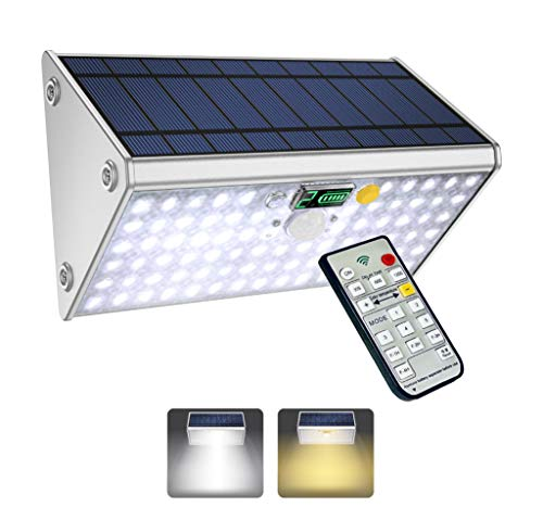 SLARR Premium Aluminum Solar Lights Outdoor Security Flood Light with Motion Sensor, 20000 mAh Battery, 208 LED 1700 Lumen White and Warm White, Remote Control, 6 Modes, Easy Install (Fixed/Portable)