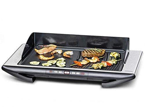 ROMMELSBACHER Design Tischgrill BBQ 2012/E - Made in Germany, 2 getrennt steuerbare Grillbereiche, 10 Temperaturstufen, 3-Lagen Anihaftbeschichtung, Fettablauf, 2000 Watt, Edelstahl/schwarz