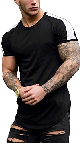 Coshow Herren Kurzarm Muskel T-Shirt Workout Tee Casual Slim Fit Longline T-Shirts