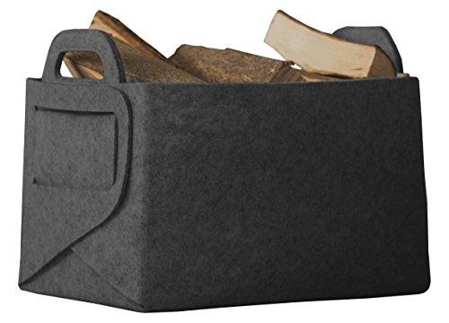 Rubberneck Allzweckkorb aus Filz, Faltbare Aufbewahrungstasche mit Zwei Henkeln, Maße: 36 x 25 x 23 cm, Anthrazit