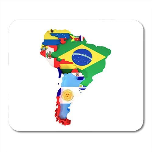Gaming Mouse Pad Bunte lateinamerikanische Südamerika Karte Länder und Hauptstädte Dekor Büro rutschfeste Gummi Backing Mousepad Mouse Mat