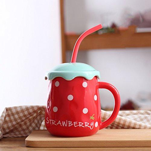 Tasses de fruit de personnalité créatrice tasses en céramique avec la cuillère de couvercle pipette d'étudiant mignon tasse de couple de mode bureau lait tasse de café (Color : Strawberry red)