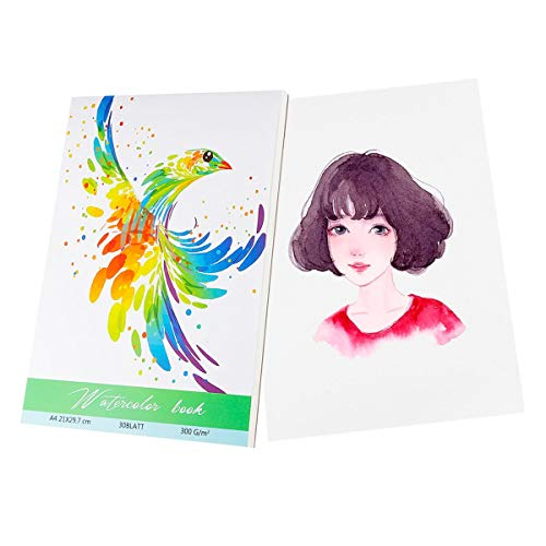 Ulikey 30 Blatt Aquarellpapier A4 300g, Weiß Aquarellblock, Hochwertiger Malblock Papier, Watercolor Paper mit 3 Pinsel, 1 Palette für Aquarell, Zeichnen, Malen