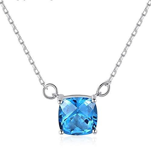 100% Plata de Ley 925 Topacio Azul Natural Aguamarina Piedra Preciosa Oro Blanco Colgante Collar Joyería