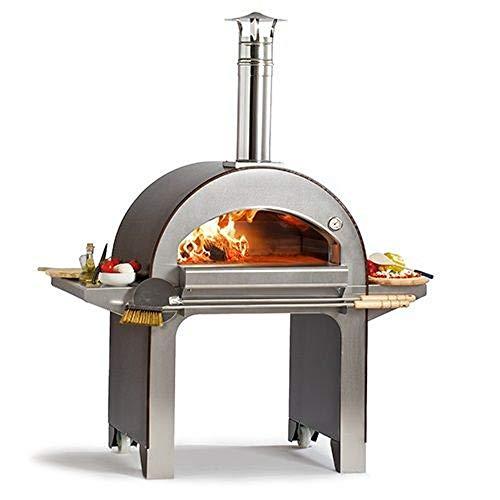 ALFA REFRATTARI Forno a Legna 4 Pizze Color Rame Dotato di Ruote FX4PIZ-LRAM