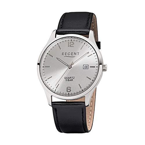Regent Reloj de Pulsera Elegante Analog de Piel para Hombre de Pulsera Negro Reloj de Cuarzo Esfera Plata ur1113408