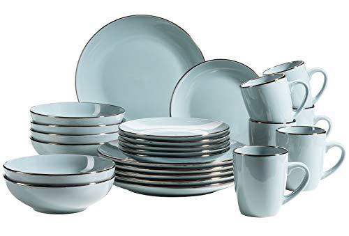 MÄSER 931626 Metallic Rim Modernes Geschirr Set für 6 Personen mit Silberrand, 24-teiliges Kombiservice mit randlosen Coupe-Formen, Hellblau, Steinzeug