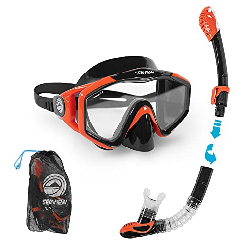 Seaview 180° Kradan Snorkel Set. Wide View Panoramic Tempered Glass Diving Snorkel Mask w/Adjustable Strap & Dry Valve Collapsible Swim Snorkel. Durable Travel Collapsible Snorkeling Gear for Adults