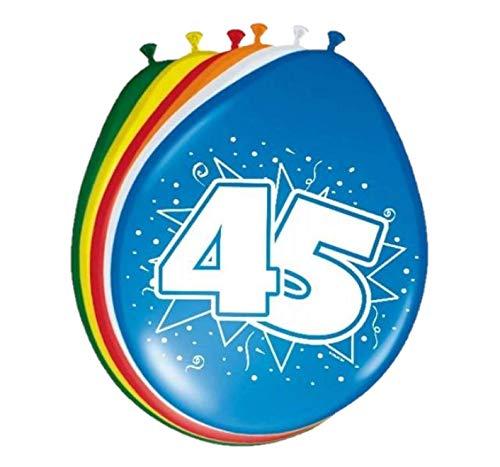 Folat 08224 45. Geburtstag Ballons 30 cm - 8 Stück, Mehrfarbig