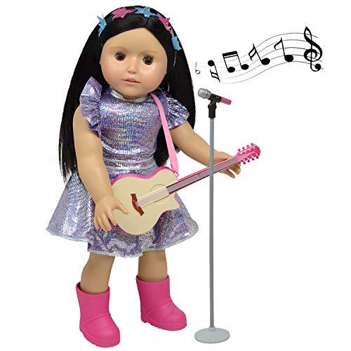 The New York Doll Collection E155 poppenspeelset bevat gitaar, microfoon, glinsterende kleding voor mode-meisjes, geschikt voor 46 cm grote speelset, poppenaccessoires, meerkleurig, 45,7 cm