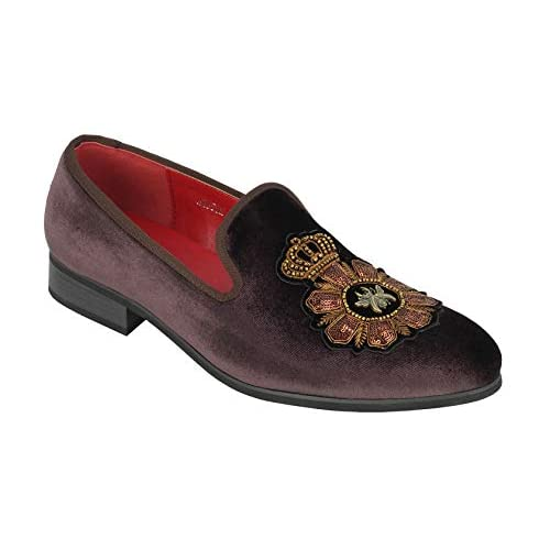 Xposed Mens Velvet Loafers Bee & Crown Embroidered Motif Vintage Dress Shoes Slip on Slippers