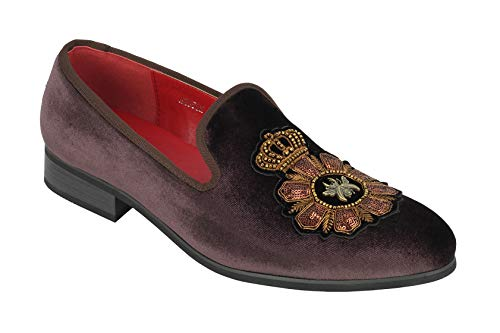 Xposed Männer Velvet Loafers Bee & Crown gestickte Motiv Vintage-Kleid-Schuh-Beleg auf Slipper [A2556H-COFFEE-46]