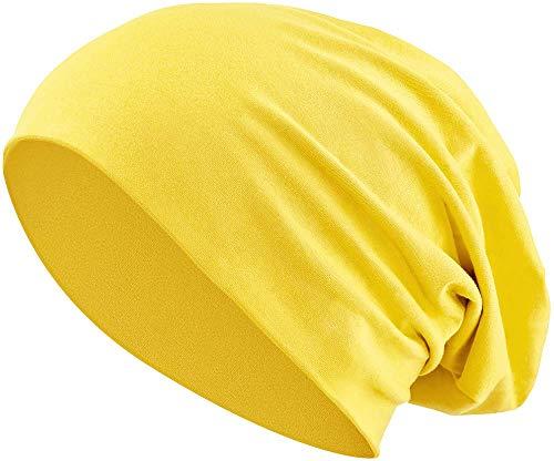 Jersey Baumwolle elastisches Long Slouch Beanie Unisex Mütze Heather in 35 (3) (Yellow)
