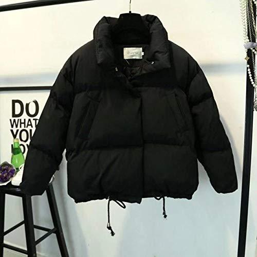 HAIBI Damen Daunenjacke Kurze Jacke Stand Reißverschluss Winter Jacke Mantel Solid Warm Casual Gepolstert Parka Weibliche Mantel Damen, Schwarz, L