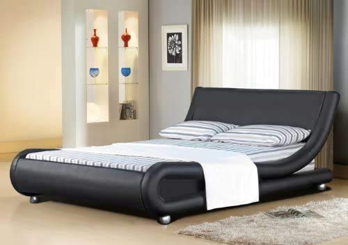 Italian Designer Mallorca Bed Frame and Memory Foam Mattress (4FT6-Double, Black)