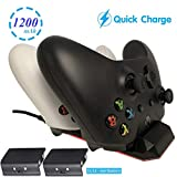 WHITEOAK Xbox One Controller Quick Charger, [Upgraded Version] Dual Charging Dock Station Kit for Xbox One/One S/One X/One Elite with 2 x 1200mAh Rechargeable Battery Packs for 2 Wireless Controllers