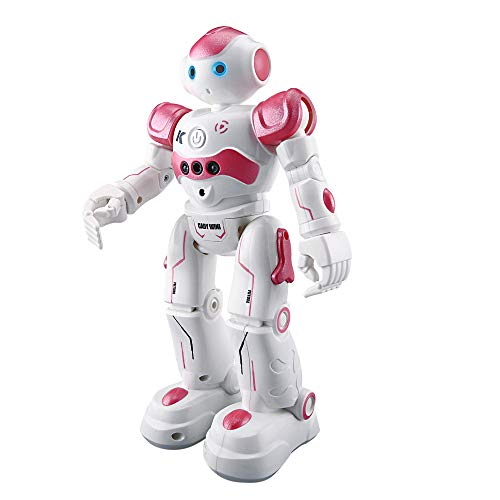 High-Tech Artificial Intelligence Robot Smart RC Robot Toy for Kids, Gesture Sensing Dancing Robot, Smart Remote Control Robot Programmable Robotic Toy Gift for 4, 5, 6, 7, 8+ Boys and Girls (Pink)